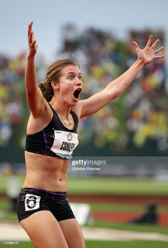 Kim Conley celebrates after finishing in third place in the Women's 5000 Meter Run Final on day seven of the U.S. Olympic Track & Field Team Trials at the Hayward Field on June 28, 2012 in Eugene, Oregon.