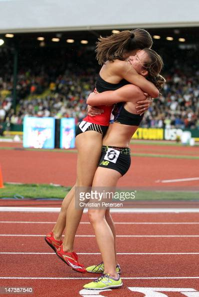 Kim Conley celebrates with Magdalena Lewy Boulet after finishing in third place in the Women's 5000 Meter Run Final on day seven of the US Olympic...