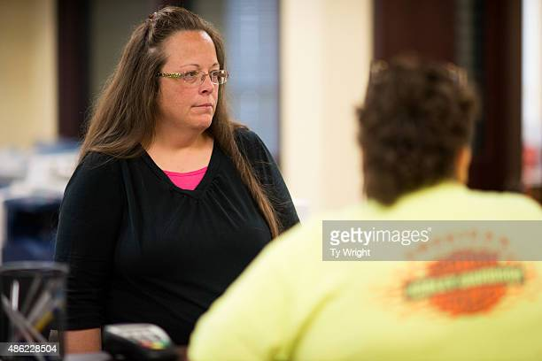 Kim Davis the Rowan County Clerk of Courts speaks to coworkers at the County Clerks Office on September 2 2015 in Morehead Kentucky Citing a sincere...