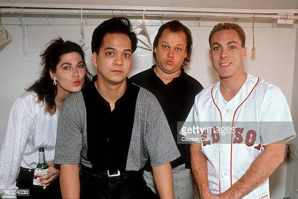Kim Deal Joey Santiago Frank Black and David Lovering of The Pixies posing for a group portrait backstage at the Warfield Theater in San Francisco on...