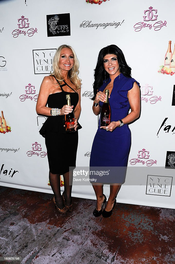 Kim DePaola and <a gi-track='captionPersonalityLinkClicked' href=/galleries/search?phrase=Teresa+Giudice&family=editorial&specificpeople=5912953 ng-click='$event.stopPropagation()'>Teresa Giudice</a> attends Cuffs By Kim D Party during Fall 2013 Fashion Week at Lair on February 7, 2013 in New York City.