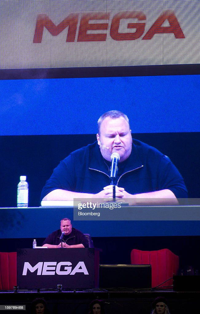 Kim Dotcom, founder of Megaupload.com, speaks during the launch of the company's new website Mega at his mansion in Coatesville, near Auckland, New Zealand, on Sunday, Jan. 20, 2013. Dotcom, marking one year since his Megaupload.com website was shut down by the U.S. Department of Justice and his home raided by New Zealand tactical squad officers in helicopters, unveiled his new website Mega, a successor file-storage and sharing site, saying innovation won't be stopped. Photographer: Brendon O'Hagan/Bloomberg via Getty Images