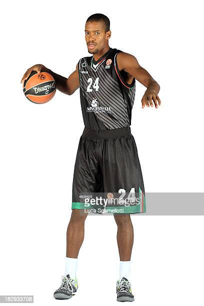 Kim English #24 of Montepaschi Siena during the Montepaschi Siena 2013/14 Turkish Airlines Euroleague Basketball Media Day at Palaestra on October 2...