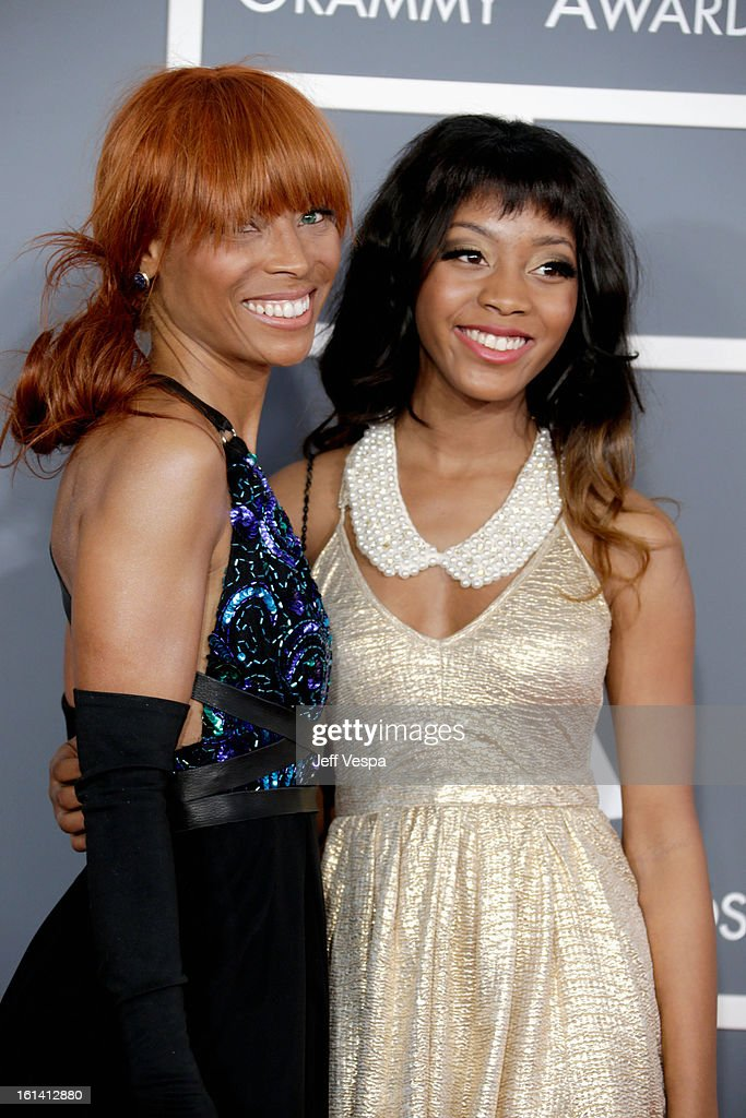 Kim English (L) and her daughter attend the 55th Annual GRAMMY Awards at STAPLES Center on February 10, 2013 in Los Angeles, California.