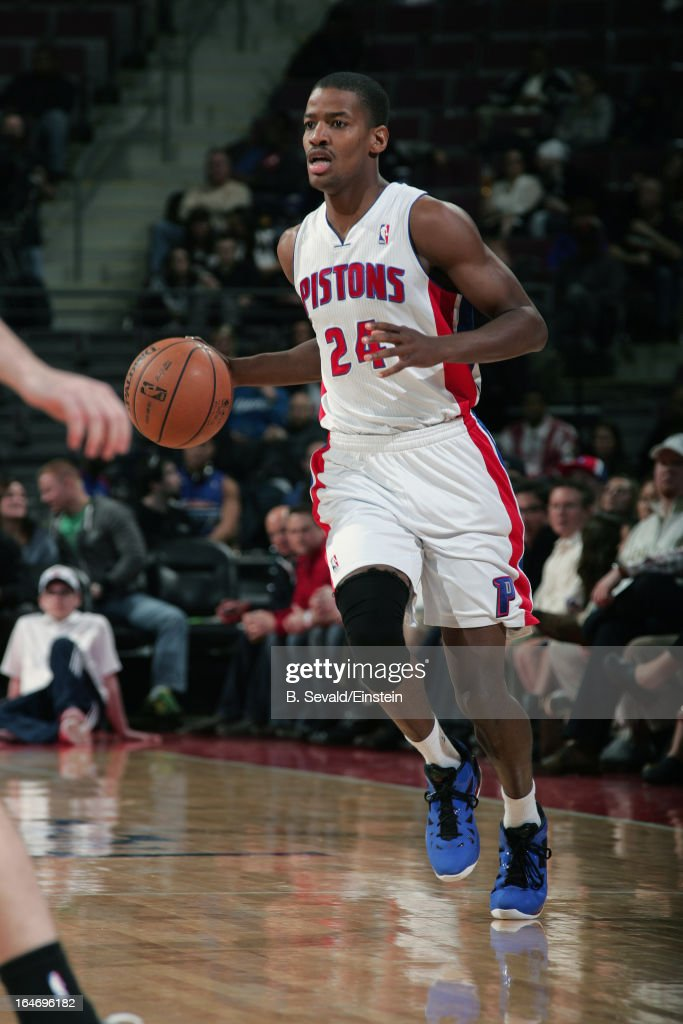 Kim English of the Detroit Pistons dribbles the ball against the Minnesota Timberwolves during the game on March 26 2013 at The Palace of Auburn...