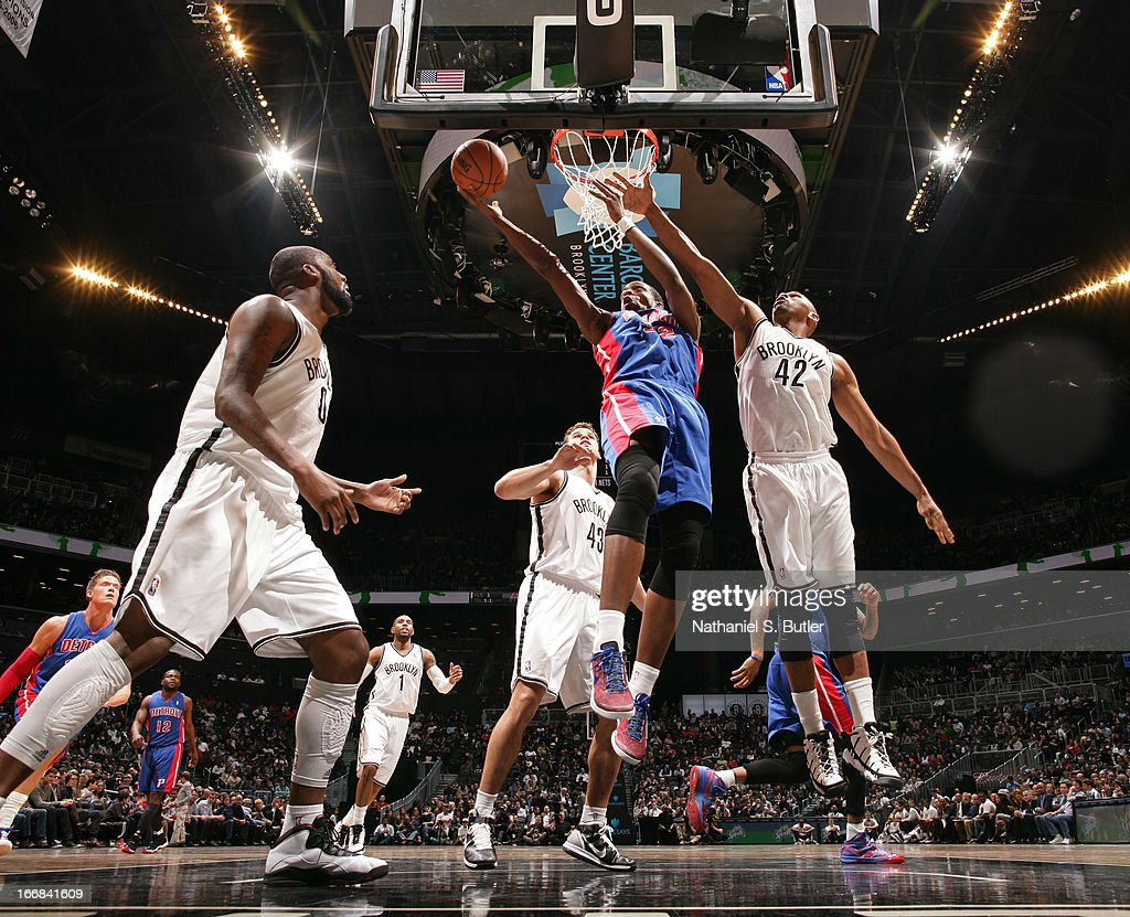 Kim English #24 of the Detroit Pistons drives to the basket against Jerry Stackhouse #42 of the Brooklyn Nets on April 17, 2013 at the Barclays Center in the Brooklyn borough of New York City.