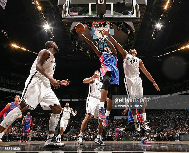 Kim English of the Detroit Pistons drives to the basket against Jerry Stackhouse of the Brooklyn Nets on April 17 2013 at the Barclays Center in the...