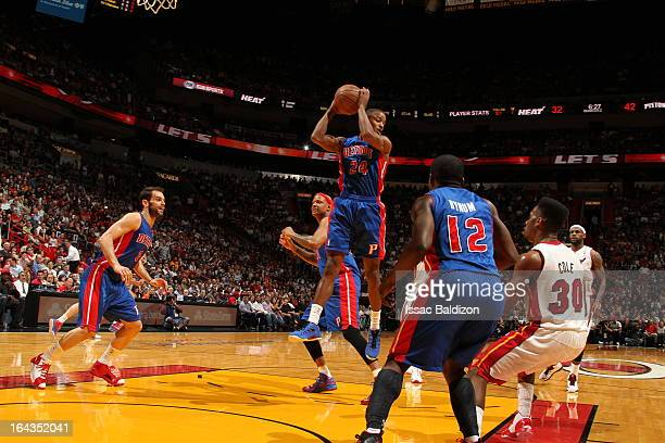 Kim English of the Detroit Pistons grabs a rebound against the Miami Heat on March 22 2013 at American Airlines Arena in Miami Florida NOTE TO USER...