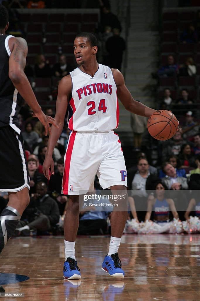 Kim English #24 of the Detroit Pistons handles the ball against the Brooklyn Nets on March 18, 2013 at The Palace of Auburn Hills in Auburn Hills, Michigan.