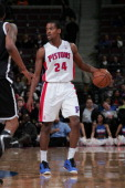 Kim English of the Detroit Pistons handles the ball against the Brooklyn Nets on March 18 2013 at The Palace of Auburn Hills in Auburn Hills Michigan...