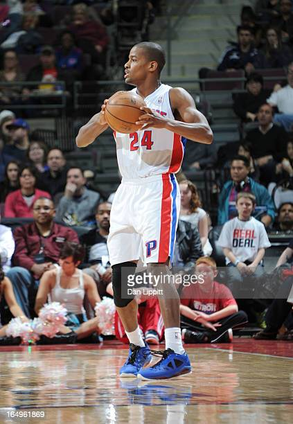 Kim English of the Detroit Pistons handles the ball during the game between the Detroit Pistons and the Toronto Raptors on March 29 2013 at The...