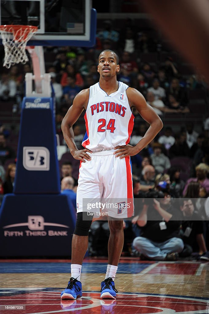 Kim English of the Detroit Pistons looks on during the game between the Detroit Pistons and the Toronto Raptors on March 29 2013 at The Palace of...