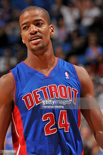 Kim English of the Detroit Pistons looks on during the game between the Detroit Pistons and the Orlando Magic on January 27 2013 at Amway Center in...