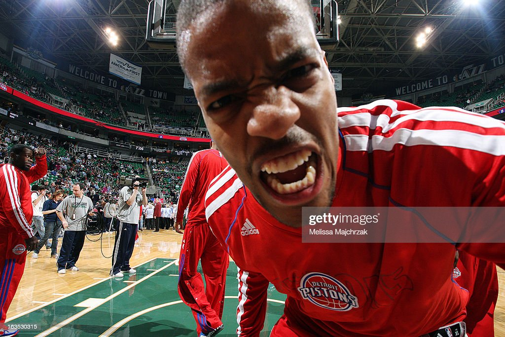 Kim English #24 of the Detroit Pistons poses for a picture during warm-ups before the game against the Utah Jazz at Energy Solutions Arena on March 11, 2013 in Salt Lake City, Utah.
