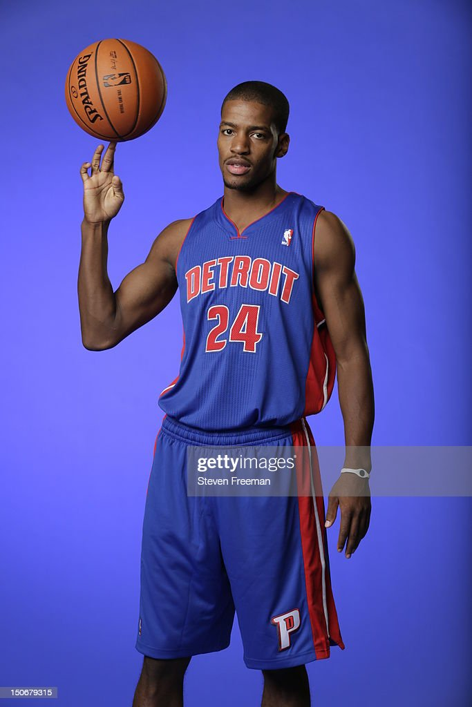 Kim English #24 of the Detroit Pistons poses for a portrait during the 2012 NBA rookie photo shoot on August 21, 2012 at the MSG Training Facility in Tarrytown, New York.