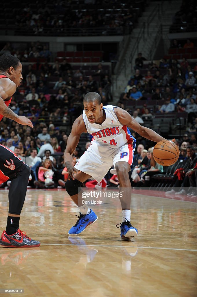 Kim English of the Detroit Pistons protects the ball during the game between the Detroit Pistons and the Toronto Raptors on March 29 2013 at The...