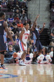 Kim English of the Detroit Pistons reacts during the preseason game between the Charlotte Bobcats and the Detroit Pistons on October 20 2012 at The...