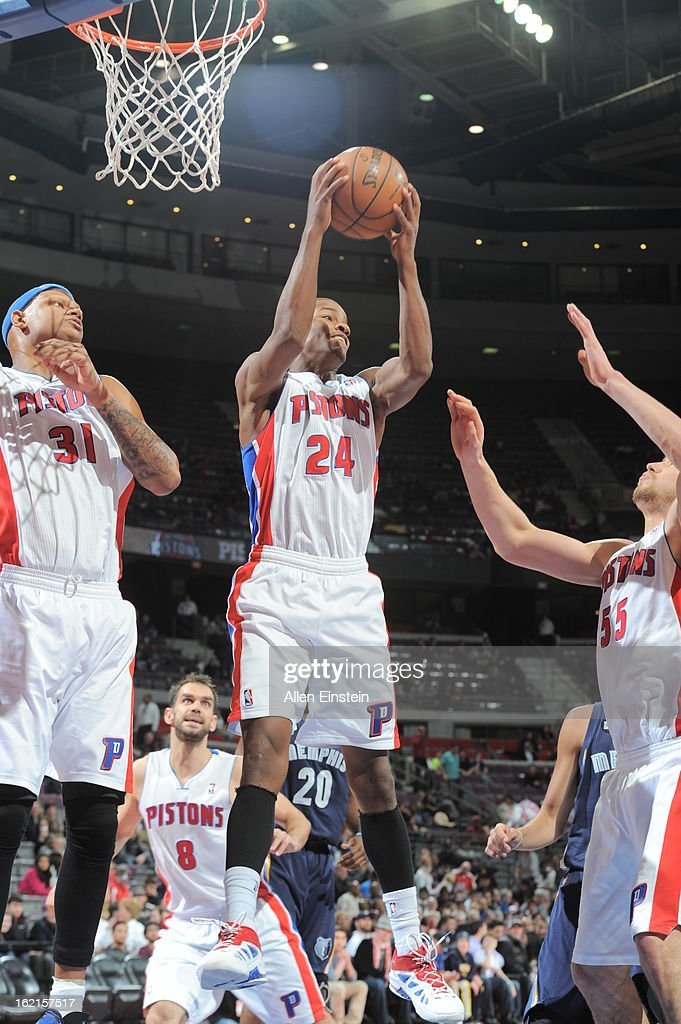 Kim English #24 of the Detroit Pistons rebounds against the Memphis Grizzlies on February 19, 2013 at The Palace of Auburn Hills in Auburn Hills, Michigan.