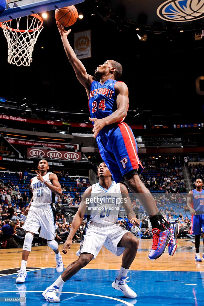 Kim English #24 of the Detroit Pistons shoots a layup against the Orlando Magic on November 21, 2012 at Amway Center in Orlando, Florida.