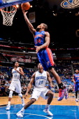 Kim English of the Detroit Pistons shoots a layup against the Orlando Magic on November 21 2012 at Amway Center in Orlando Florida NOTE TO USER User...
