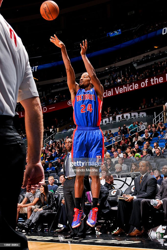 Kim English #24 of the Detroit Pistons shoots a three-pointer against the Orlando Magic on November 21, 2012 at Amway Center in Orlando, Florida.