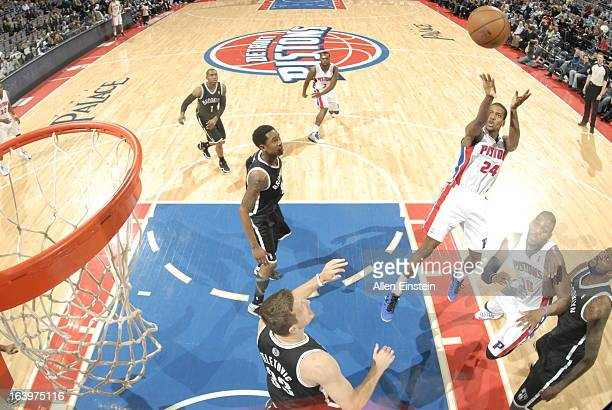 Kim English of the Detroit Pistons shoots against the Brooklyn Nets on March 18 2013 at The Palace of Auburn Hills in Auburn Hills Michigan NOTE TO...