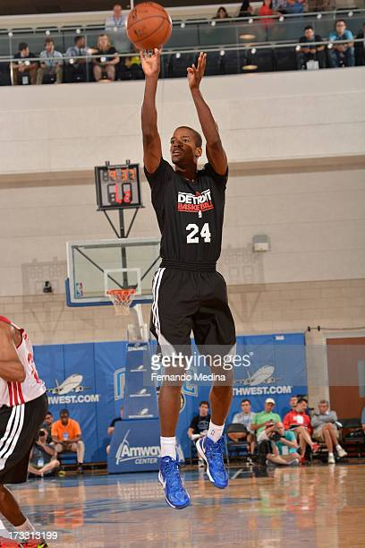 Kim English of the Detroit Pistons shoots against the Miami Heat during the 2013 Southwest Airlines Orlando Pro Summer League on July 11 2013 at...