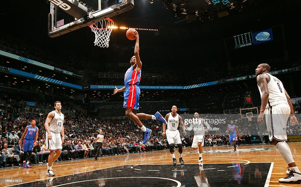 Kim English #24 of the Detroit Pistons shoots in a game against the Brooklyn Nets on April 17, 2013 at the Barclays Center in the Brooklyn borough of New York City.