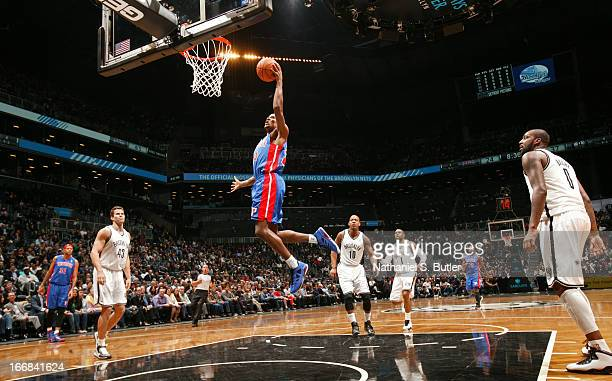Kim English of the Detroit Pistons shoots in a game against the Brooklyn Nets on April 17 2013 at the Barclays Center in the Brooklyn borough of New...