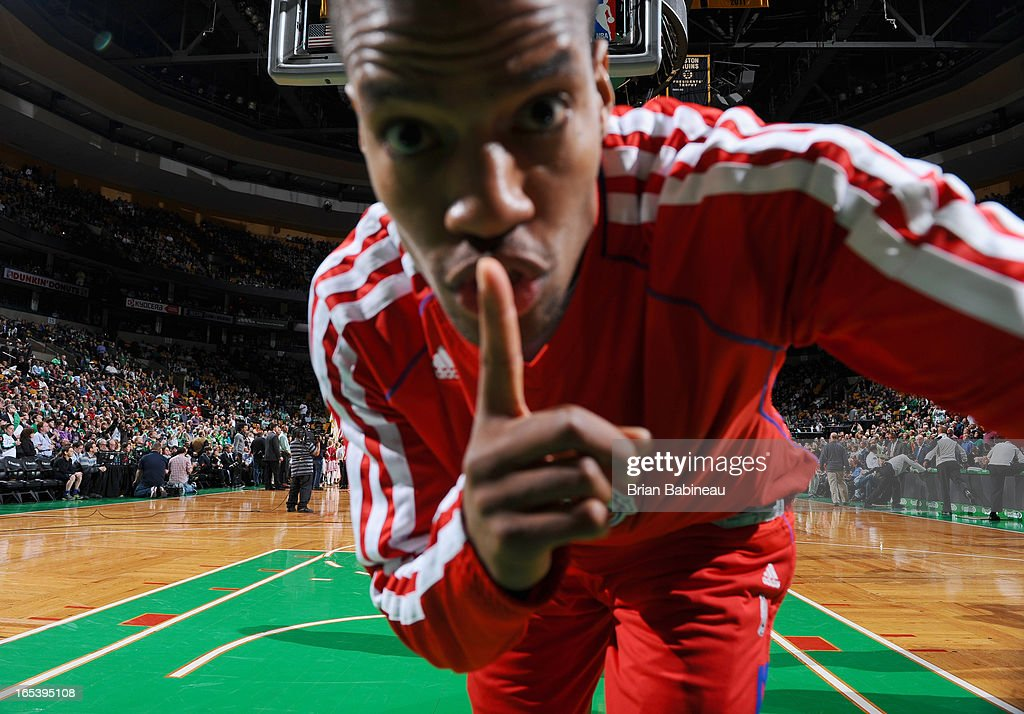 Kim English of the Detroit Pistons snaps a picture on the remote camera before the game against the Boston Celtics on April 3 2013 at the TD Garden...