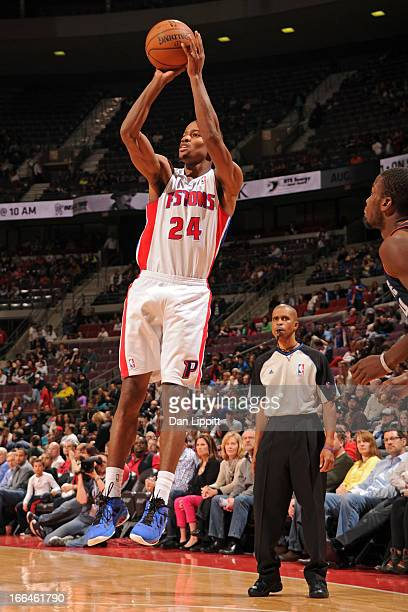 Kim English of the Detroit Pistons takes a shot against the Charlotte Bobcats on April 12 2013 at The Palace of Auburn Hills in Auburn Hills Michigan...