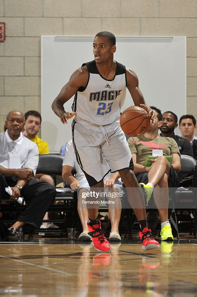 Kim English of the Orlando Magic dribbles the ball against the Boston Celtics during the Samsung NBA Summer League 2014 on July 10 2014 at Amway...
