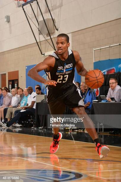Kim English of the Orlando Magic drives to the basket against the Memphis Grizzlies during the game during the Samsung NBA Summer League 2014 on July...