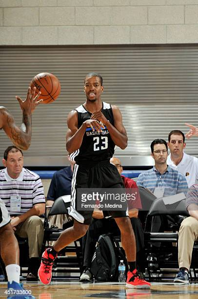 Kim English of the Orlando Magic passes the ball against the Philadelphia 76ers on July 5 2014 at Amway Center in Orlando Florida NOTE TO USER User...