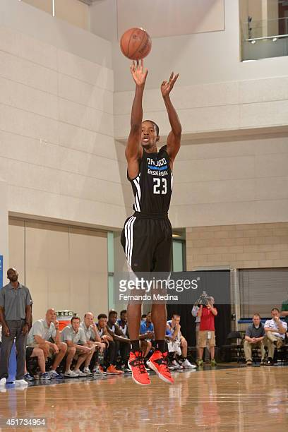 Kim English of the Orlando Magic shoots against the Philadelphia 76ers during the Samsung NBA Summer League 2014 on July 5 2014 at Amway Center in...