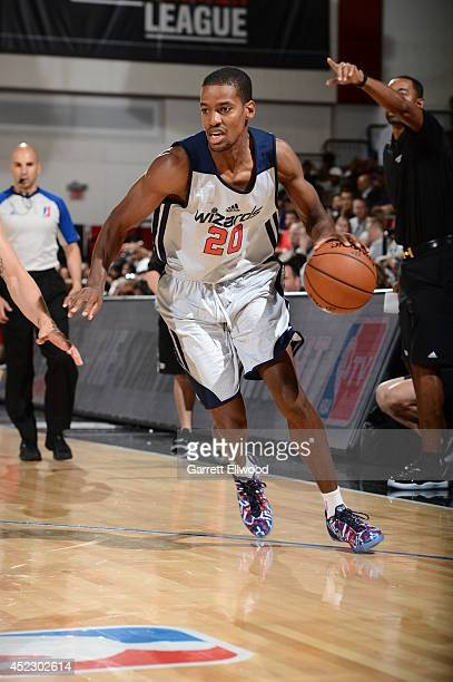 Kim English of the Washington Wizards handles the ball against the Washington Wizards on July 17 2014 at the Thomas and Mack Center in Las Vegas...