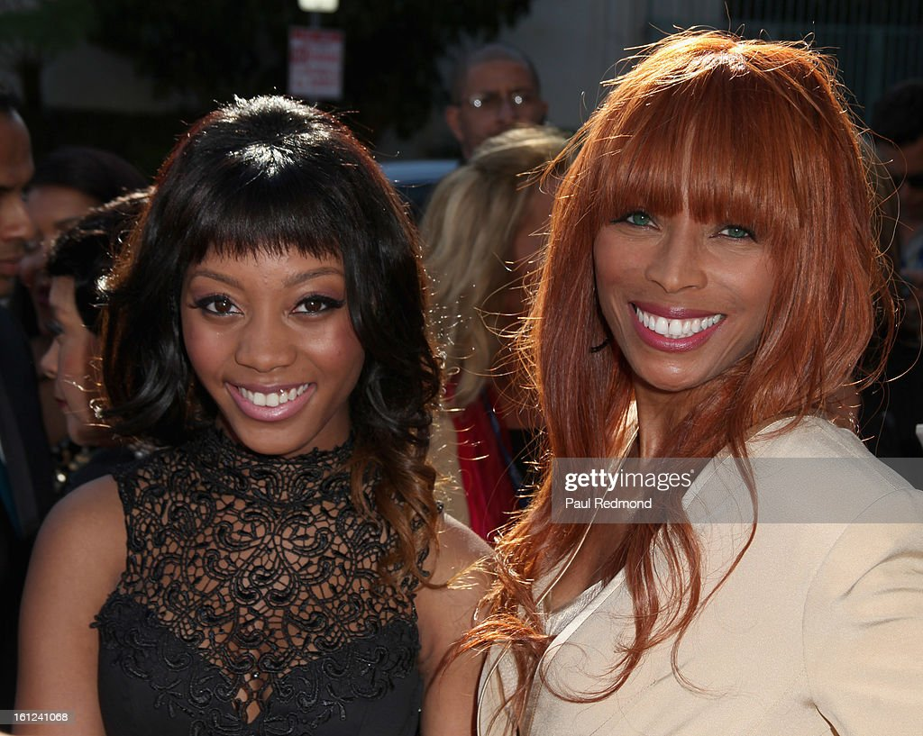 Kim English (R), widow of The Temptasions singer Melvin Franklin, and her daughter arrive at the Recording Academy Special Merit Awards Ceremony at The Wilshire Ebell Theatre on February 9, 2013 in Los Angeles, California.