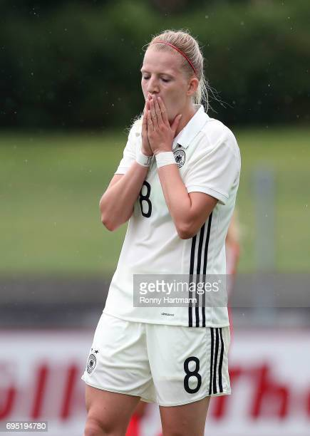 Kim Fellhauer of Germany reacts during the U19 women's elite round match between Germany and Switzerland at Friedensstadion on June 9 2017 in...