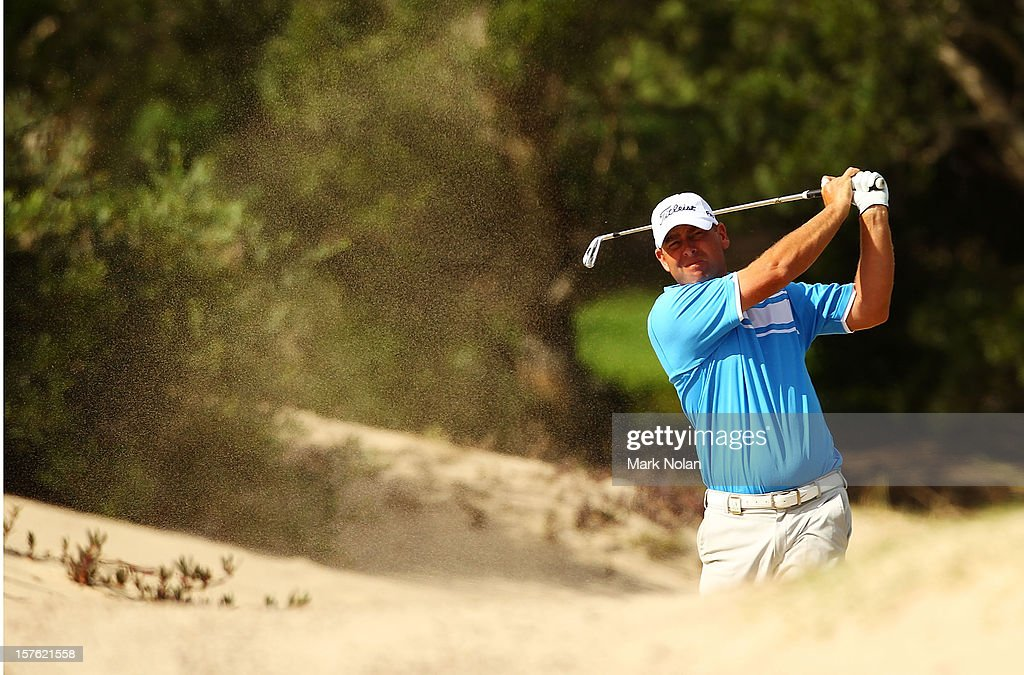 Kim Felton of Australia plays out of the sand during the Pro-Am ahead of the 2012 Australian Open, beginning tomorrow, at The Lakes Golf Club on December 5, 2012 in Sydney, Australia.