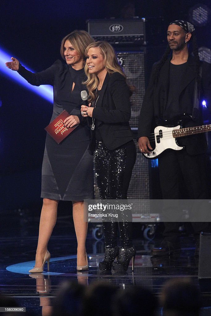 Kim Fisher and Anastacia performs during the 18th Annual Jose Carreras Gala on December 13, 2012 in Leipzig, Germany.