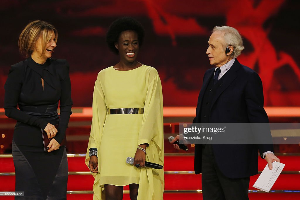 Kim Fisher, Ivy Quainoo and Jose Carreras perform during the 18th Annual Jose Carreras Gala - Rehearsals on December 13, 2012 in Leipzig, Germany.