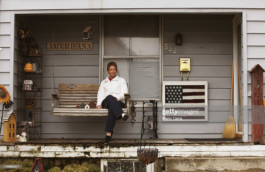 Kim Foltz poses on her front porch on March 4, 2012 in Findlay, Ohio. Economic conditions are a major concern among voters in the state. The Republican Party continues the process of determining who will be their general election candidate against President Barack Obama in the fall with the upcoming Super Tuesday vote.