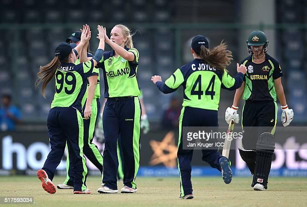 Kim Garth of Ireland celebrates the wicket of Meg Lanning Captain of Australia with team mates during the Women's ICC World Twenty20 India 2016 match...