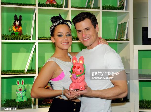 Kim Gloss and Rocco Stark attend Easter Bunny Charity Auction at Billstedt Shopping Centre on April 3 2012 in Hamburg Germany