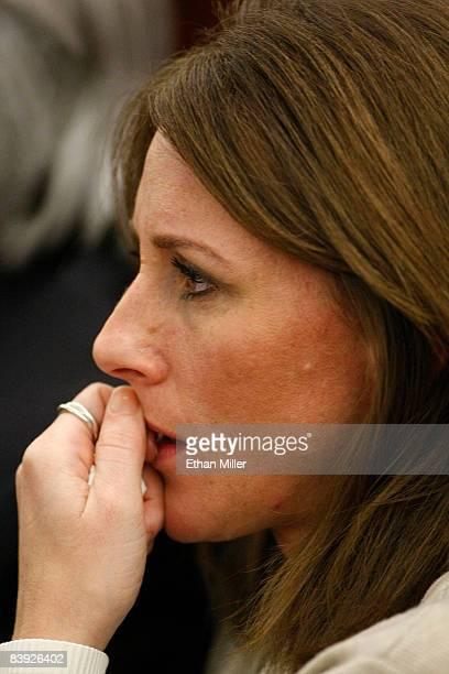 Kim Goldman appears in court during the sentencing of OJ Simpson at the Clark County Regional Justice Center December 5 2008 in Las Vegas Nevada...