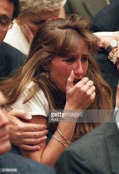 Kim Goldman the sister of murder victim Ron Goldman cries after the not guilty verdicts were read in the OJ Simpson murder trial 03 October in Los...