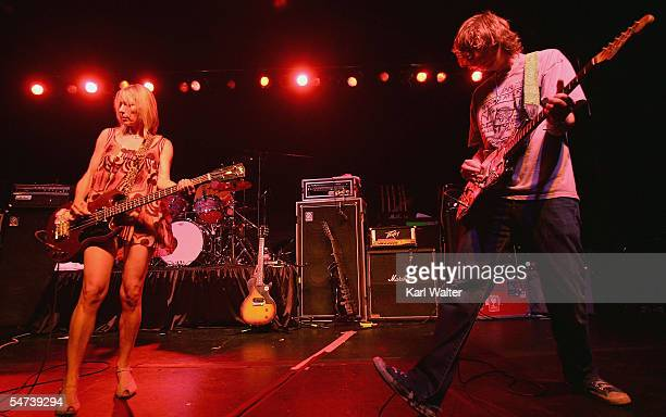 Kim Gordon and Thurston Moore of Sonic Youth performs at Barnsdall Art Park as part of ArthurFest on September 4 2005 in Los Feliz California