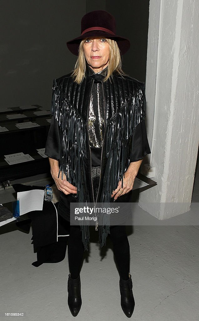 Kim Gordon poses for a photo at Rodarte during Fall 2013 Mercedes-Benz Fashion Week on February 12, 2013 in New York City.