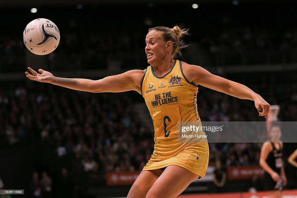 Kim Green of the Diamonds controls the ball during the Constellation Cup match between the New Zealand Silver Ferns and the Australian Diamonds at CBS Canterbury Arena on September 23, 2012 in Christchurch, New Zealand.
