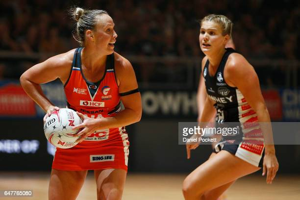 Kim Green of the Giants makes a pass during the round three Super Netball match between the Magpies and the Giants at Hisense Arena on March 4 2017...